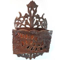"Folk Art Carved ""Home Sweet Home"" Wall Pocket"