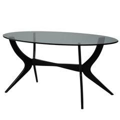 Mid-Century Italian Ebonized Oval Glass Top Table