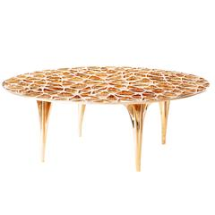 Sedona Polished Bronze Round Coffee Table/Cocktail Table with Glass Top