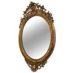 19th Century French Giltwood and Gesso Oval Mirror