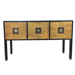James Mont Style Console Cabinet with Hand-Painted Doors