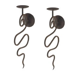 1950 Pair of Wrought Iron Sconces Candleholder
