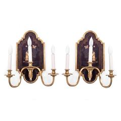 Pair of Oversized 19th Century Bronze Three-Arm Chinoiserie Sconces