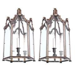 Pair of Antique Bronze Lanterns