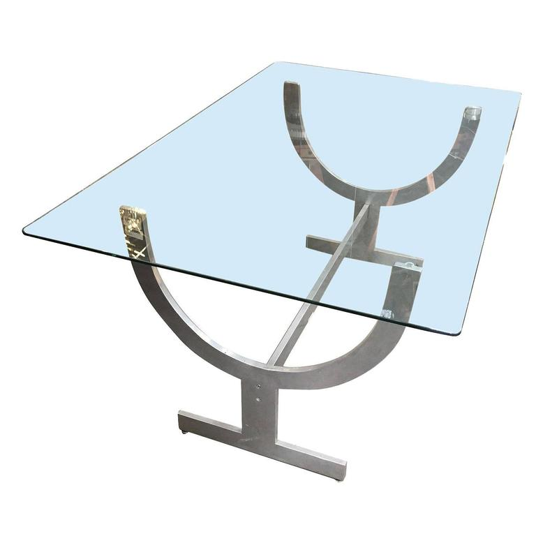 Glass Top Aluminum Wish Bone Sculptural Base Dining Table