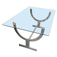 Glass Top Aluminum Wish Bone Sculptural Base Dining Table
