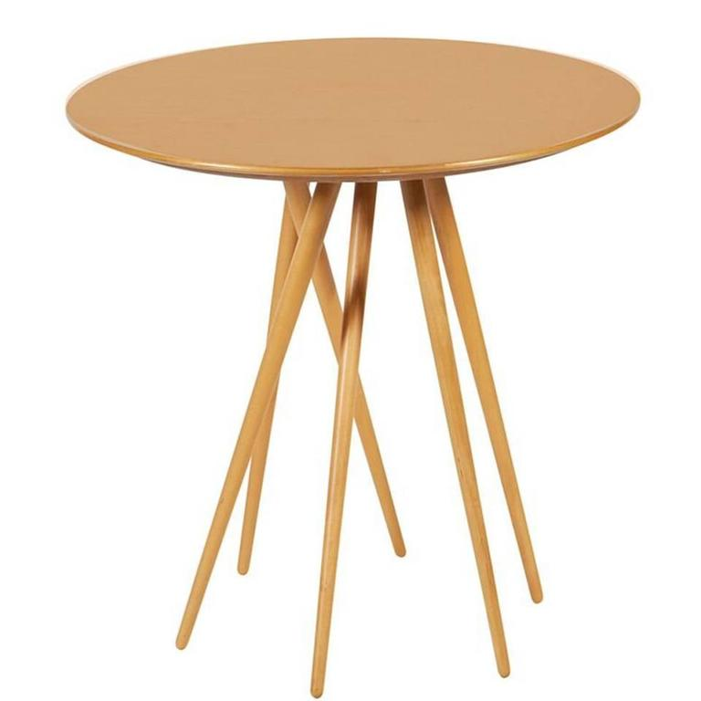 """Spindle Legged Maple """"Toothpick Table"""" by Lawrence Laske for Knoll"""