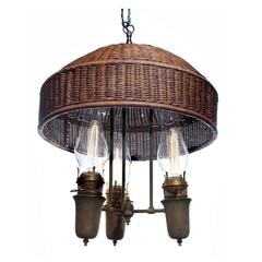 Large Arts and Crafts Wicker Shade Chandelier