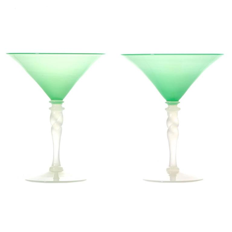 steuben art deco jade green and alabaster martini glasses 1