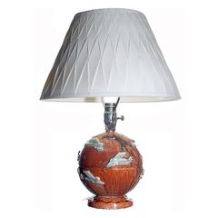 French Art Deco Airplane Globe Table Lamp