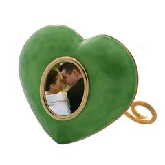 Italian Artisanal Enamelled Golden Silver Picture Frame, Laura G Heart Green