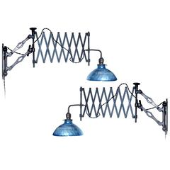 Matching Pair of Heavy Industrial Scissor Lamp with Blue Mercury Glass Shade