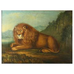 Georgian Oil on Canvas Painting of a Lion