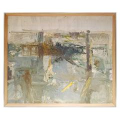 Mid-Century Abstract Oil Painting by Stanley Lewis