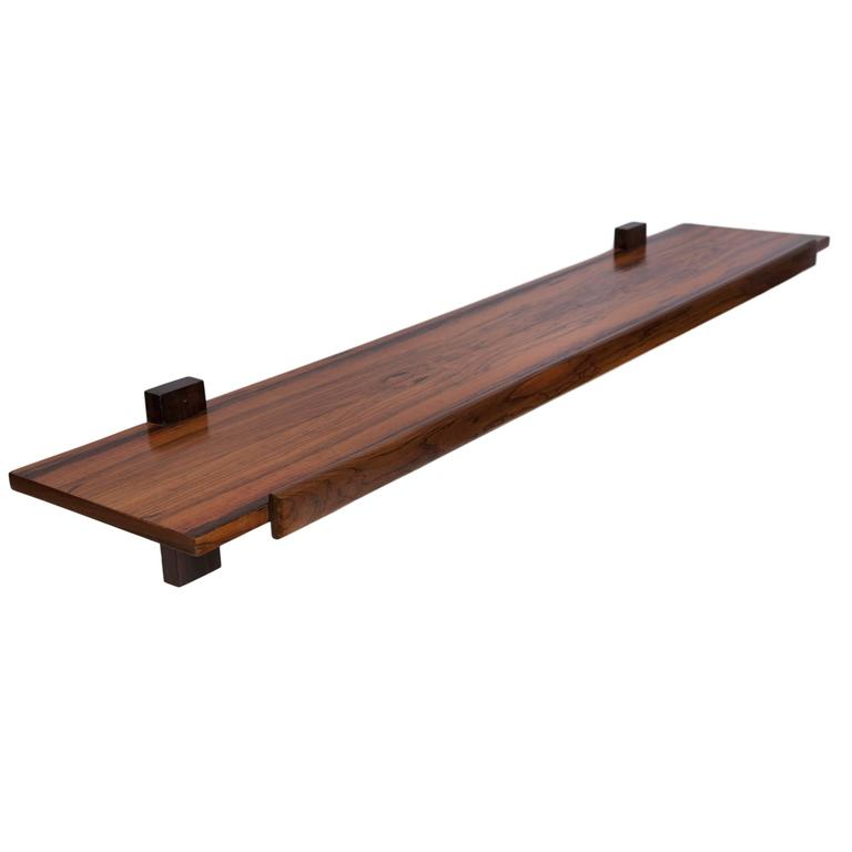 Sergio Rodrigues 1960s Jacaranda Wall-Mount Console For Sale