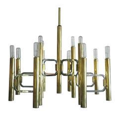 Gaetano Sciolari Italian Modern Mixed-Metal Chandelier in Chrome and Brass