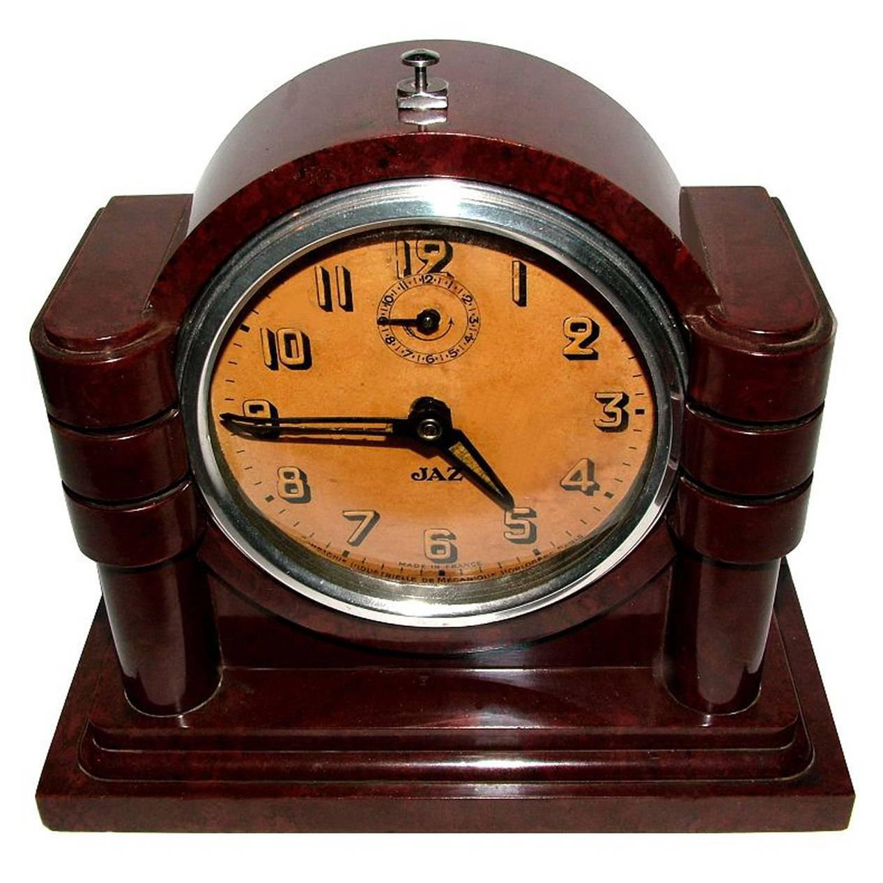 French 1930s Art Deco Bakelite Clock by JAZ