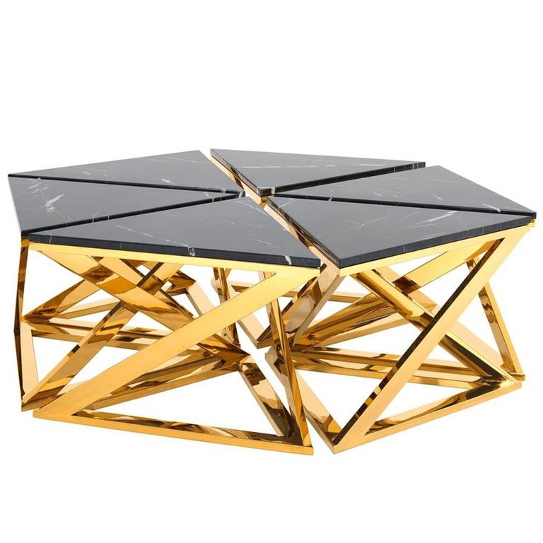 Black Coffee Table With Marble Top: Ellipse Coffee Table Set Of Six Table In Gold Finish With