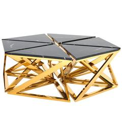 Ellipse Coffee Table Set of Six Table in Gold Finish with Black Marble Top