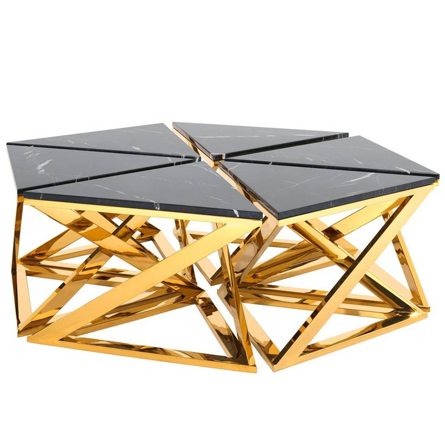Ellipse Coffee Table Set of Six Table in Gold Finish with Black