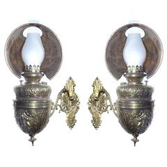 Matching Pair of Ornate 1800s Pullman Sconces