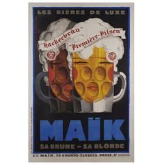 Large French Art Deco Period Beer Poster by Jean Mercier, 1929