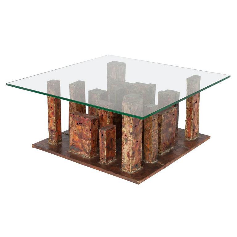 Artist Signed Brutalist Copper And Brass Torch Cut Skyscraper Coffee Table 1