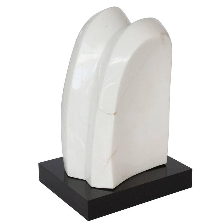 White Marble Abstract Sculpture on Black Lucite Base