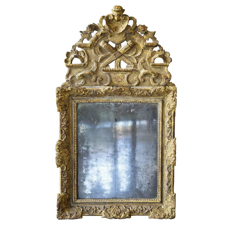 Louis XIV Gilt Mirror with Original Mercury Mirror For Sale