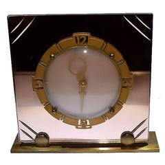 1930s Art Deco Mirror English Clock