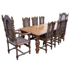 Victorian Solid Oak Dining Table and Eight Chairs
