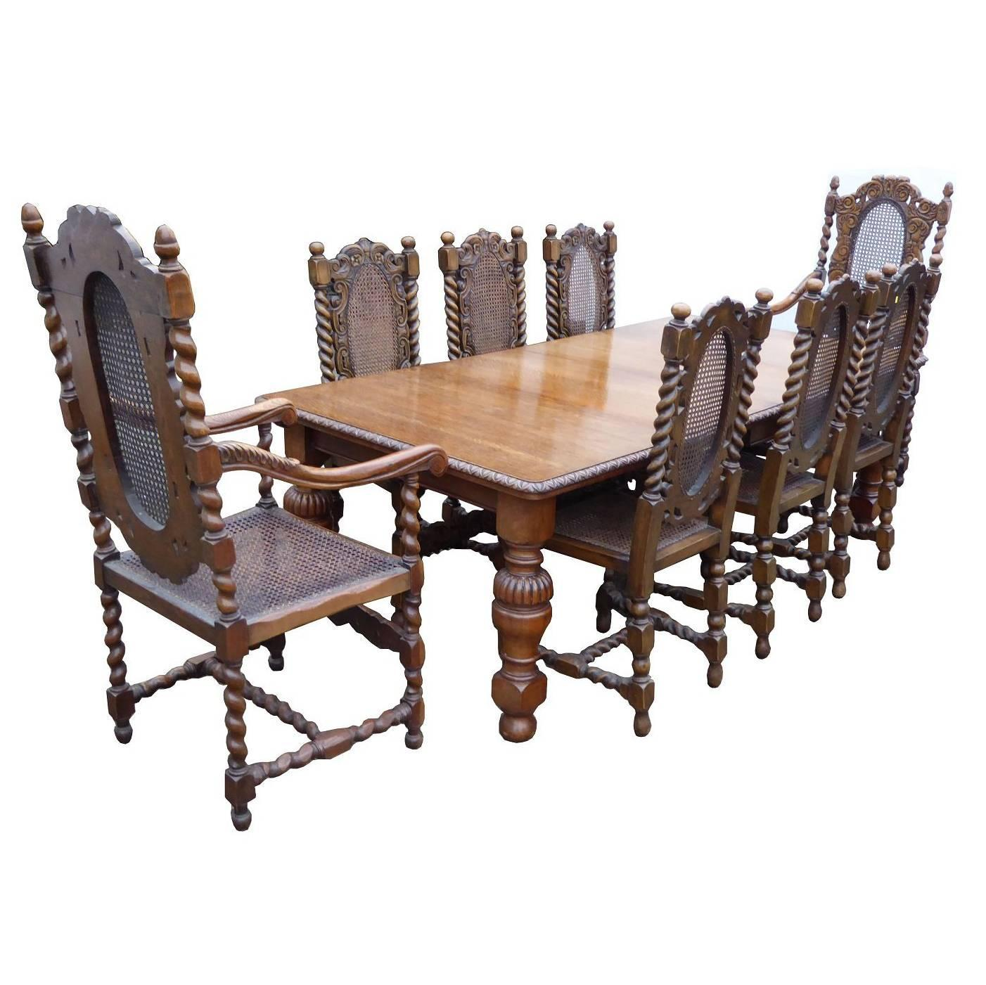 Victorian Solid Oak Dining Table and Eight Chairs at 1stdibs