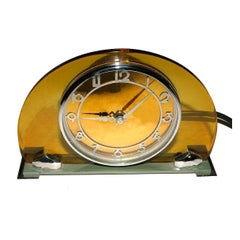 Rare 1930s, English, Art Deco Modernist Yellow Bakelite and Chrome Clock