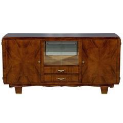 Walnut Starburst Art Deco Buffet