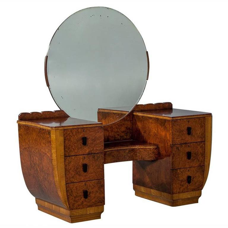 Burled Wood Art Deco Vanity with Round Mirror