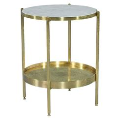 Marble Top Brass Side Table