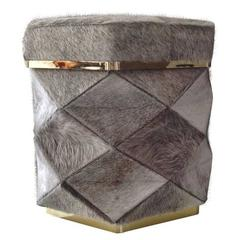 """Himalaya"" Ottoman, Cowhide and Brass Frames"
