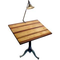 Antique Pedestal Art Table Brass O.C. White Desk Lamp