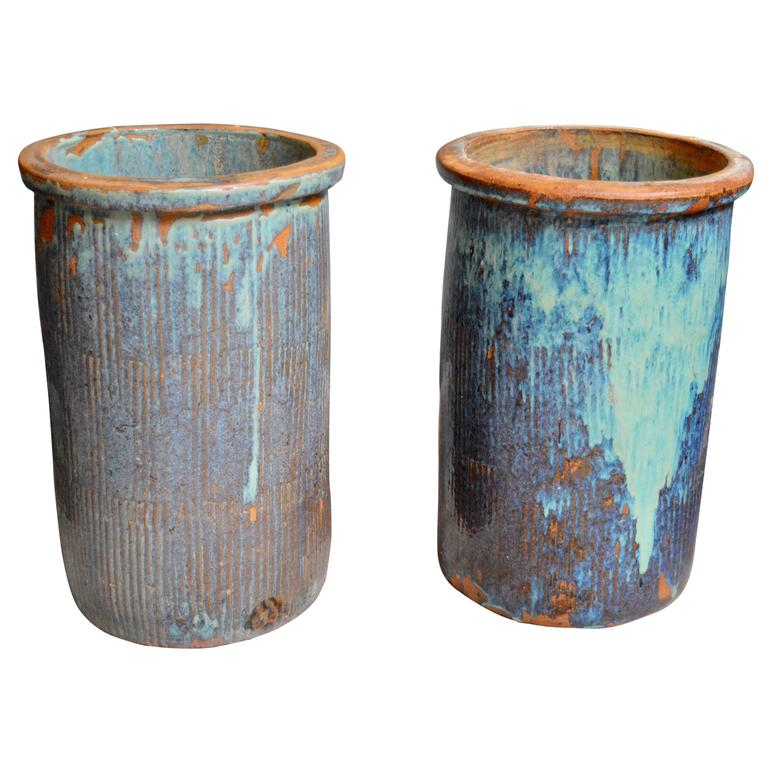 Pair of Large Drip Glaze Ceramic Pots