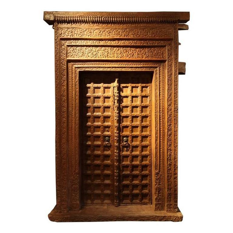 Impressive Carved Indian Entrance Door For Sale