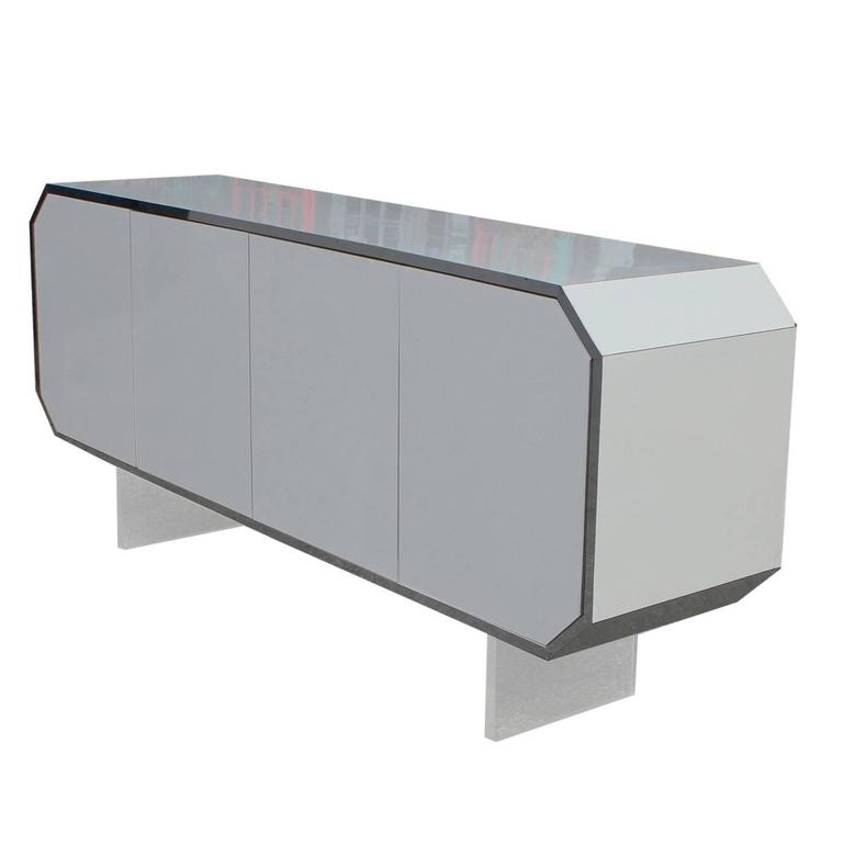 White and Chrome Octagon Modern Sideboard or Cabinet with Lucite Legs