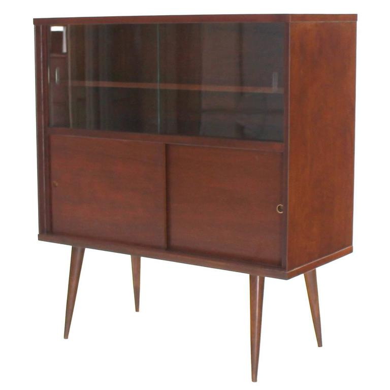 Mid Century Modern Walnut Cabinet With Sliding Glass Doors For Sale