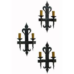 Three Arts & Crafts Wall Lights Wrought Iron French Artisan Made Fleur De Lys