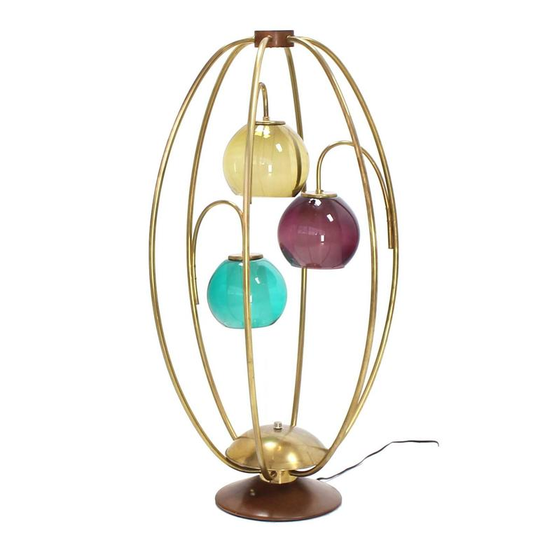 Oval Bird Cage Brass Table Lamp Purple Blue Yellow Glass Globe