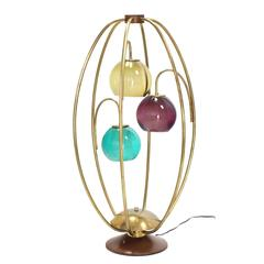 "Oval ""Bird Cage"" Brass Table Lamp Purple Blue Yellow Glass Globe Shades"