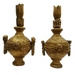 19th Century Pair of Antique Wood Finials