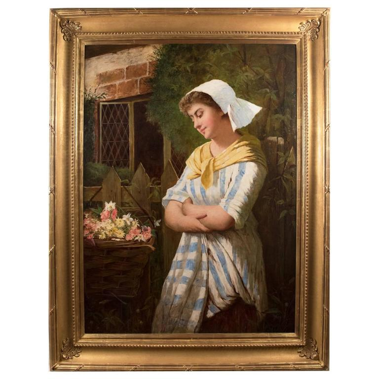 Portrait of a Young Woman (c. 1870) by John P. Morelle For Sale