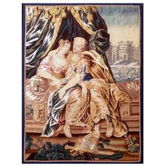 Aubusson Antique Tapestry, 17th Century, Lovers