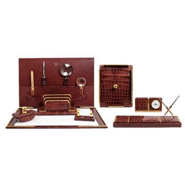 Italian Alligator Desk Set in the Style of Hermes