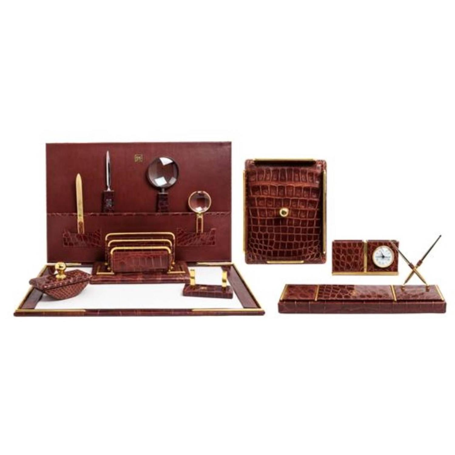 - Italian Alligator Desk Set In The Style Of Hermes For Sale At 1stdibs